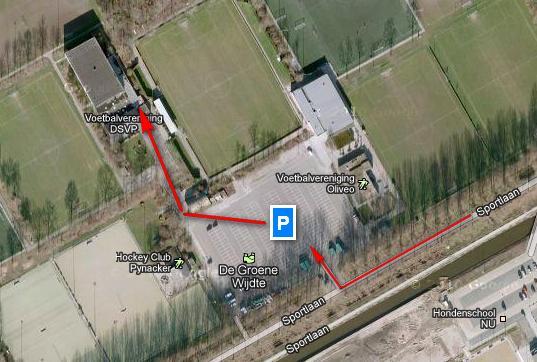 Luchtfoto van de DSVP sporthal en de looproute ernaar toe